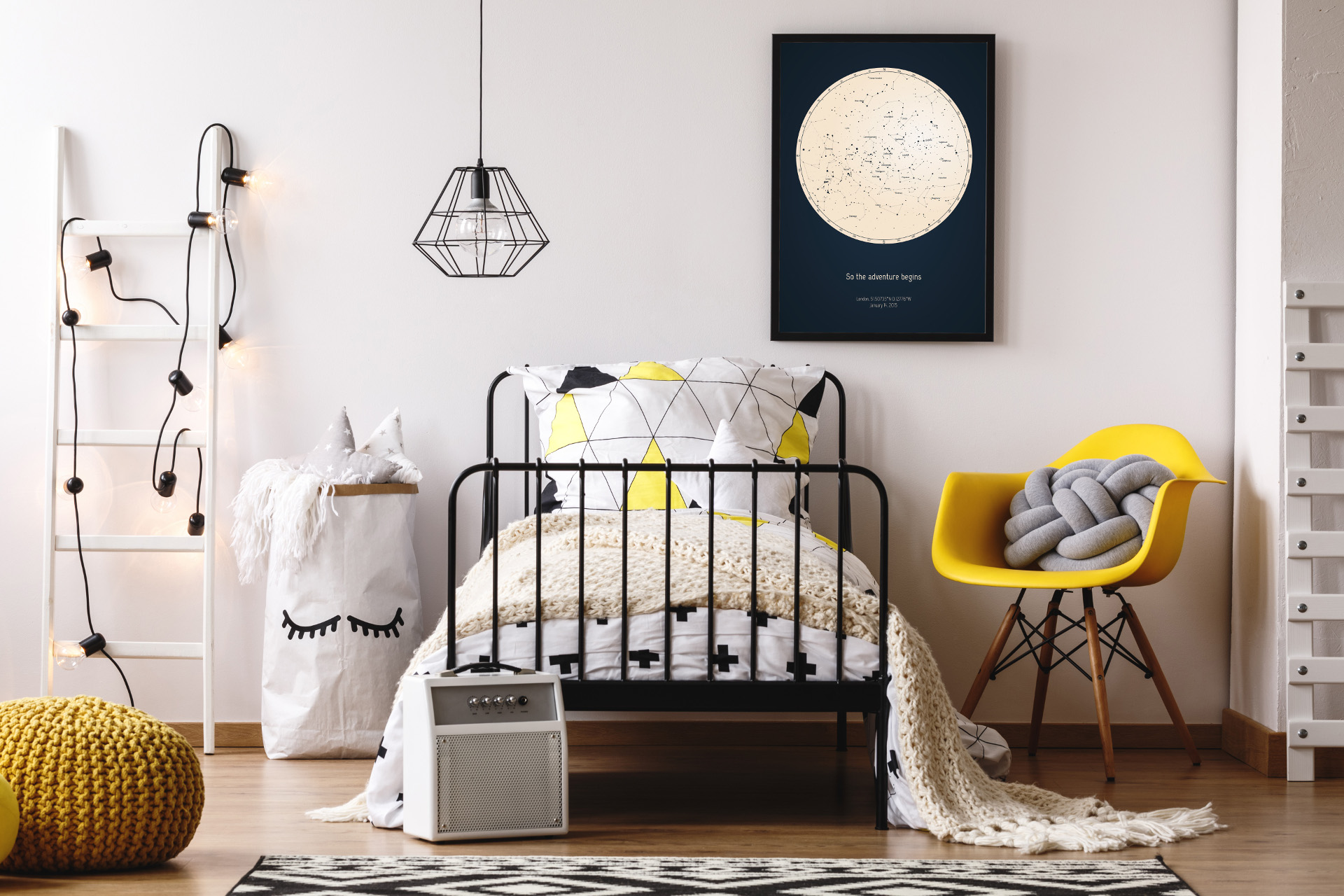 Starry night sky poster for kids bedroom