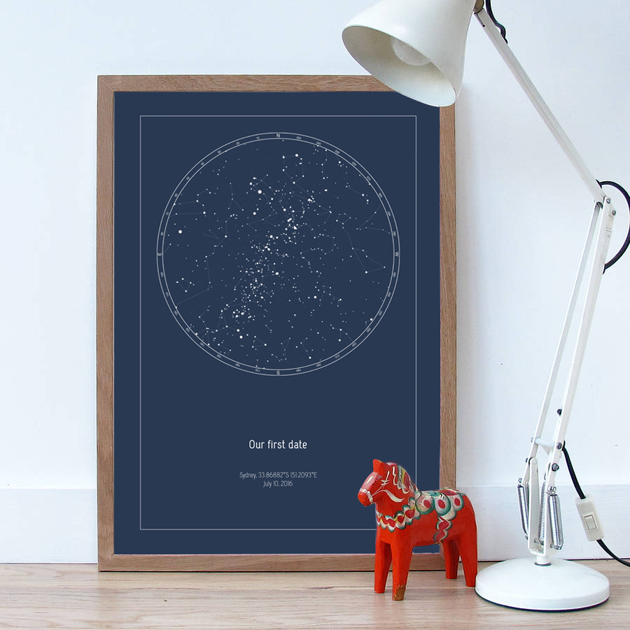 personalized star map custom star map in navy digital poster