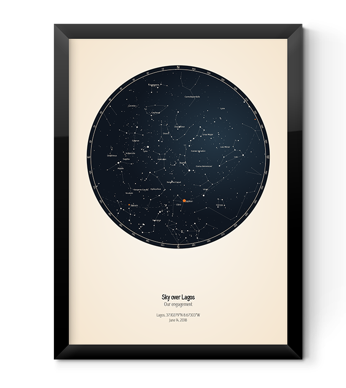 Custom star charts can be a stunning wall art decoration