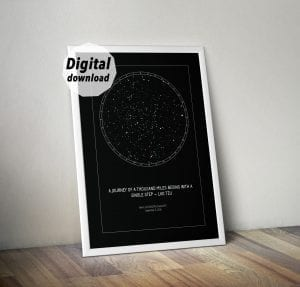 star map print, last minute personalized gift
