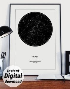 digital star map to download, printable sky map