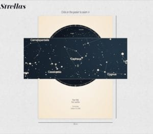 hover over the star map preview to see constellations, stars, and planets' alignment in detail.