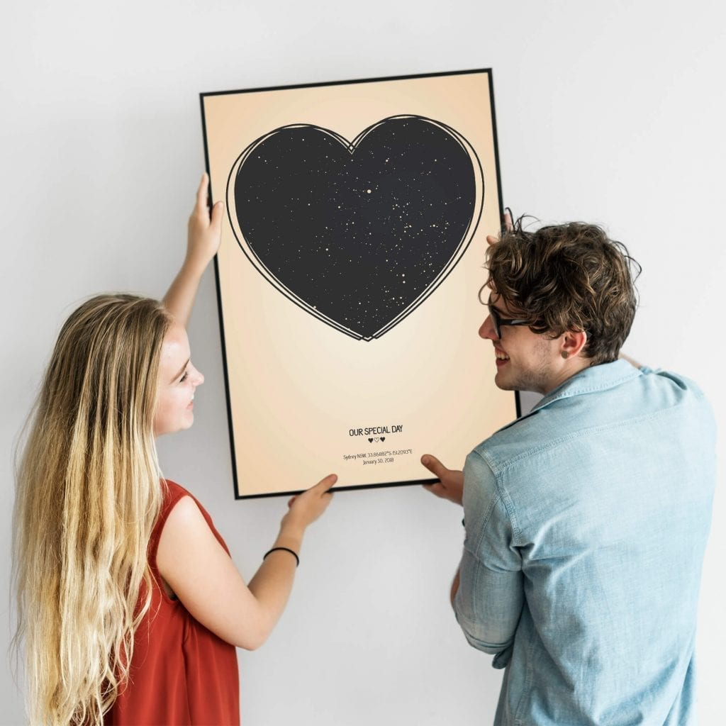 ⭐️ Custom Heart Star Map - The Perfect Gift for the Newlyweds