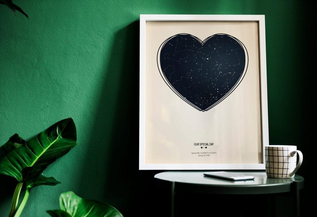 Personalized Heart Shaped Night Sky Star Map